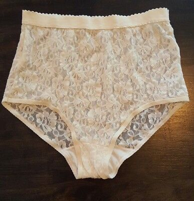 Vintage Lace Panties Nylon Ivory NWOT Sheer Underwear Ladies Women's 7