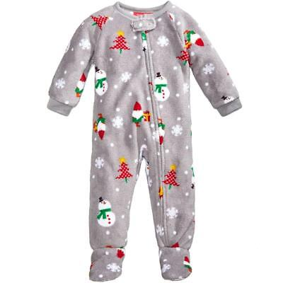 Family PJs Snowman Gray Holiday Toddler Christmas Footed Pajamas 2T/3T BHFO 2382