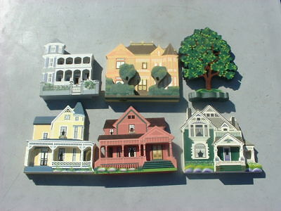 6 Shelia's Collectable Wood Houses