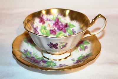Queen Anne Flared Teacup & Saucer Heavy Gold Border Pretty Violets