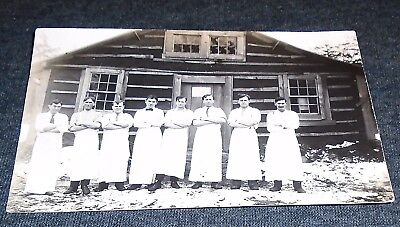 RPPC - Occupational Cooks, Chefs, at a Camp ?,  PM at Ashland Wisconsin Postcard