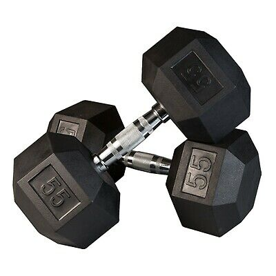 FlooringInc Body-Solid Rubber Coated Hex Dumbbells - Weight Lifting Workout Gym