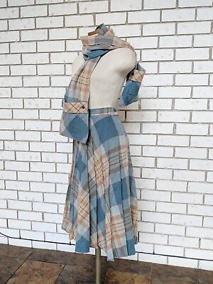 Vintage Casual Corner Plaid Wool A-Line Skirt and Scarf Size XS/S
