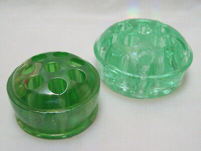 Set Of 2 Dome GREEN GLASS FLOWER FROGS Light Green 11 Holes & Dark Green 8 Holes