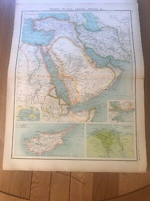 Early 1900s, Turkey in Asia/Arabia/Persia Map, XXth Century Citizen's Atlas