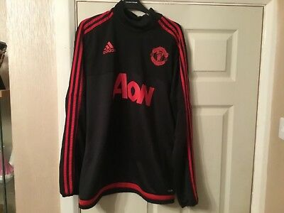 Manchester United Mens Black Adidas Zip Neck Track Style Top Size Large