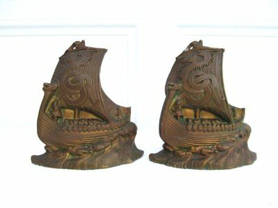 Vintage Antique Bronze Clad Cast Metal Viking Asian Dragon Ship Boat Bookends