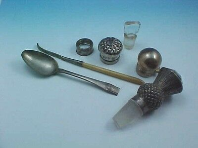 Mixed Lot Hallmarked Sterling Silver, Plate & Glass Stoppers & More Use / Scrap