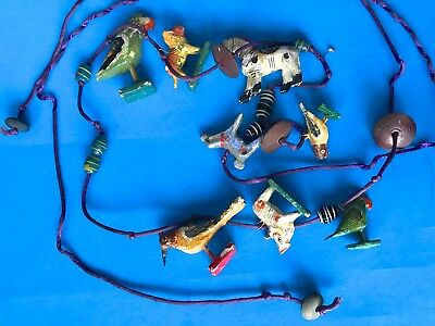 Antique Vintage Necklace Beaded Hand Carved Painted Wood Animals Folk Art