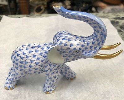 Herend  Figurine Fishnet Elephant  (5266) - Excellent Condition