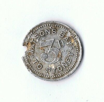 Rare Watsons Bay To Sydney 3 Pence Ferry Token