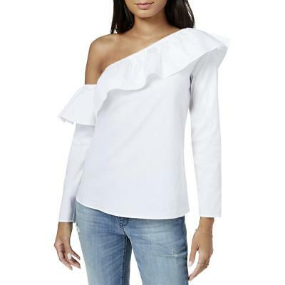 Maison Jules Womens White One Shoulder Ruffled Night Out Blouse Top