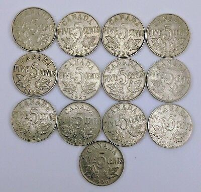Canada 1922 To 1936 George  V 5 Cent 13 Different Coins Set Collection Lot