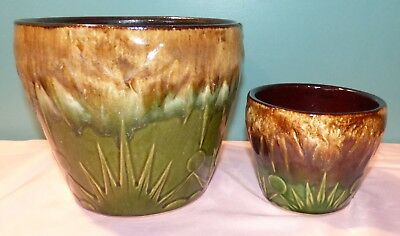 Lot of 2 Vintage Robinson Ransbottom Pottery Jardinieres - Moon and Stars