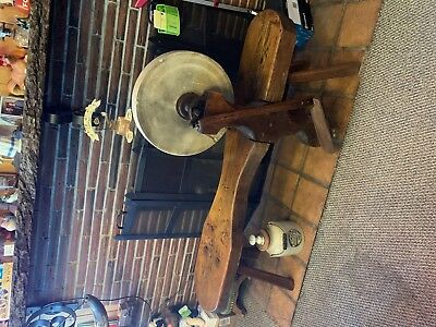 RARE Antique / Wooden Base / Primitive Grinding Sharpening Stone Whetstone Wheel