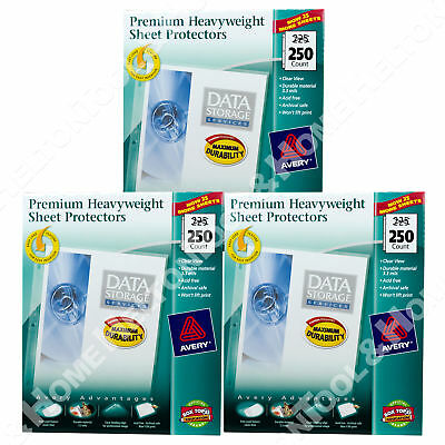 New Avery Sheet Protector Clear 76006 Acid Free 250 Pack Letter Size 3 Pack