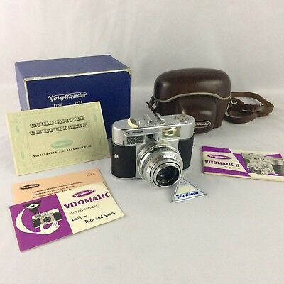 VTG Voigtlander Vitomatic II 35mm Film Camera Case Box Manual West Germany 1950s
