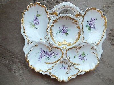 ANTIQUE ELEGANT FRENCH OYSTER SERVING PLATE w/ beautiful gold trim
