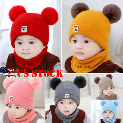 US STOCK Baby Boys Girls Children Winter Cap Knitted Warm Pom Hat and Scarf Set