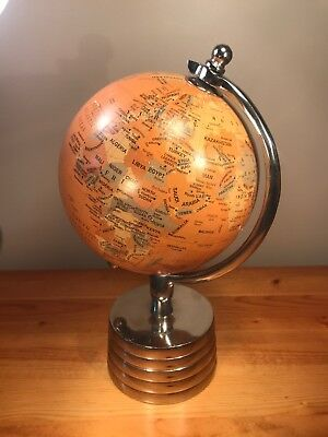 World Globe with Metal Stand Mid Century