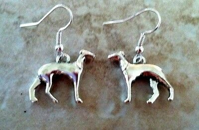 Greyhound Dog Earrings silver, .925 Sterling Silver Wires animal pet show