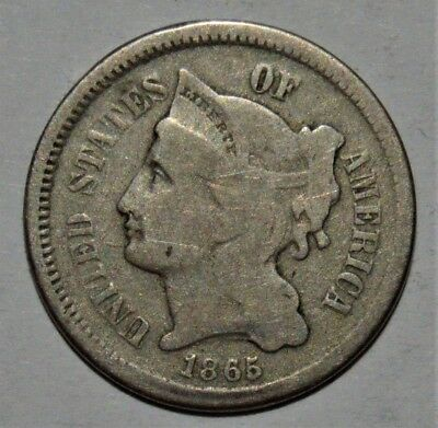 1st YEAR OF ISSUE 1865 3 CENT NICKEL COIN - CIRCULATED - .99c START - NO RESERVE