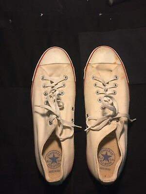 VTG Made in USA Converse All Star Chuck Taylor LOW TOP White ex 11 Irregular