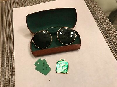 RARE VINTAGE 1930s RAY-BAN SUNGLASSES CLIP ON GREEN 12K GOLD FILLED MINT IN CASE
