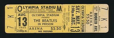Beatles RARE 1966 U.S. 'OLYMPIA STADIUM'  DETROIT, MI CONCERT FULL UNUSED TICKET