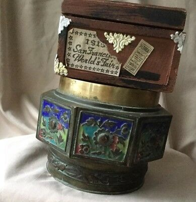 Vintage Chinese Brass Enameled Container Jar Scenic Panels Ornate Metalwork