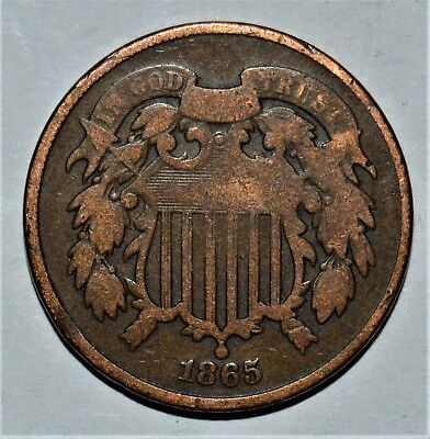 CIRCULATED 1865 US TWO CENT PIECE - .99c START - NO RESERVE