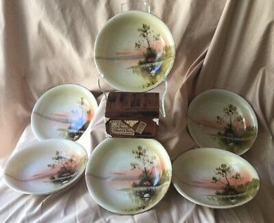 VINTAGE Japan NORITAKE Hand Painted Berry Bowls Swan Country Scene by Lake 6 Pc