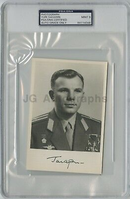 Yuri Gagarin Cosmonaut PSA Slabbed Mint9 Autographed Photo First Human in Space