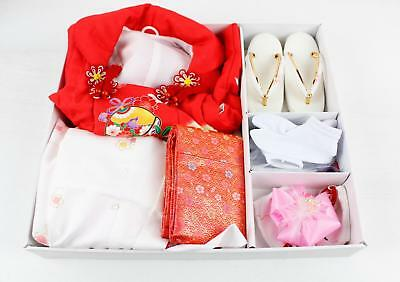 Red Spring Floral 753 Ceremony Zori Obi Juban Kanzashi 2-3yo Child's Kimono Set