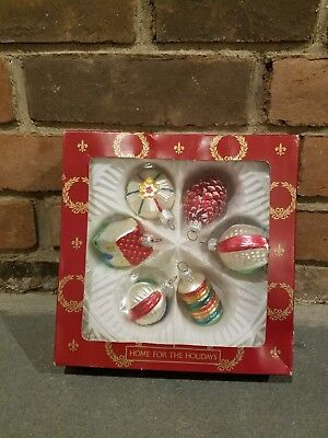 Box of 6 Vintage Hand Painted Glass Christmas Ornaments BEAUTIFUL!