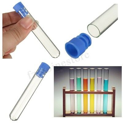 10PCS 12mm x 75mm Borosilicate Glass Test Tubes Rimless Pyrex With Push Caps