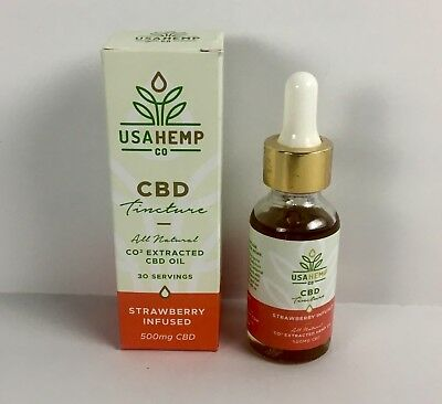 CBD Tincture 500MG Full Spectrum All Natural  Hemp Oil Strawberry Infused