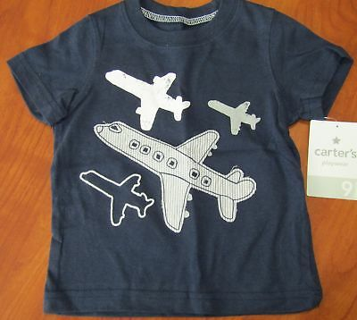 New Carters Baby Boys Playwear Blue Airplanes Design T-Shirt Sz 6M 9M 12M