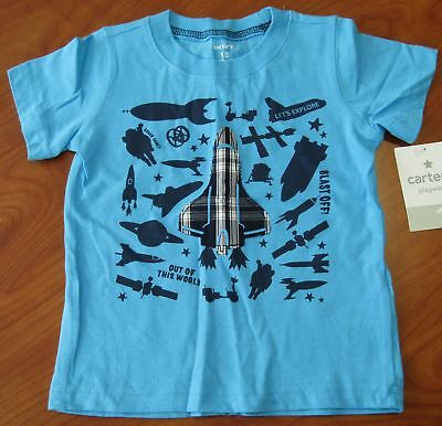 New Carters Baby Boys Blue Space Exploration T-Shirt Sz 6M 9M 12M 18M 4T
