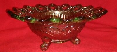 Vintage Northwood Art Glass Icy Green Carnival Wild Rose Reticulated Candy Bowl