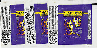 1979 STAR TREK WRAPPERS (3 DIFFERENT)TOPPS Wax Pack Wrappers NO CARDS
