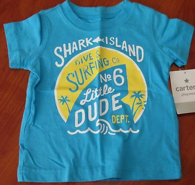 New Carters Baby Boys Playwear Blue Shark Island Surfing T-Shirt Sz 6M