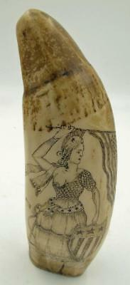"Vintage Scrimshaw Replica 7"" Engraved Tooth A.t.  Moger Miss Liberty & Sale Ship"