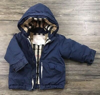 Burberry Children Duck Down Silk Quilted Coat Infant Boys Sz 18 Months Defected/