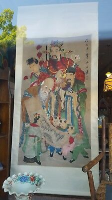 Antique Chinese Scroll Painting - Immortals Figures - Signed Shen Zongqian, Qing