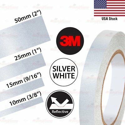3M REFLECTIVE Safety Car Motorcycle Truck Conspicuity Vinyl Sticker SILVER WHITE
