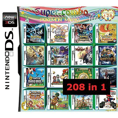 208 in 1 Games Cartridge Video Game For  Nintendo 3DS 2DS DS Lite DSi XL LL