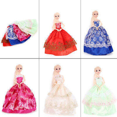 5pcs Mix Doll Dress Wedding Party Bridal Princess Gown Clothes for  Barbie Doll
