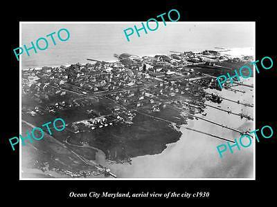 OLD LARGE HISTORIC PHOTO OF OCEAN CITY MARYLAND, AERIAL VIEW OF CITY c1930 3
