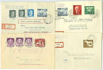 GERMANT/REICH: Lot 10 covers 1942-44 many registered. Nice frankings.